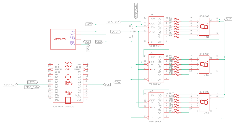 Схема термометра на Arduino и датчике температуры MAX30205