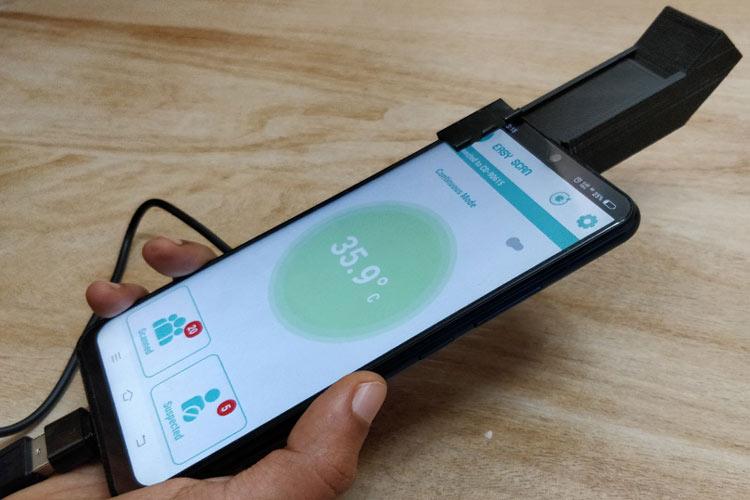 Тестирование работы термометра на экране Android приложения