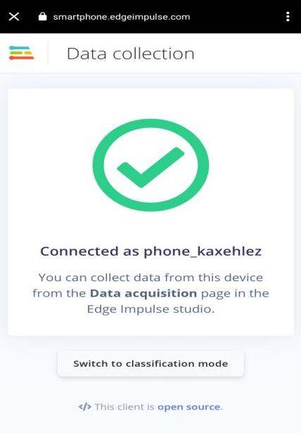 Мобильный телефон подключен к Edge Impulse studio