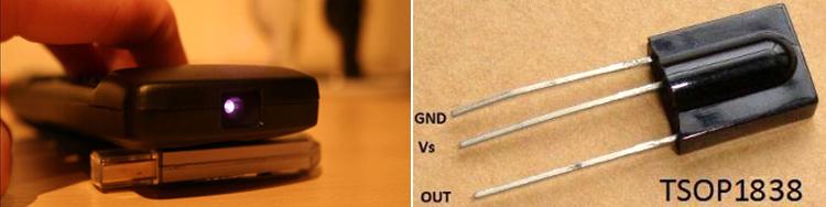 Внешний вид пульта ДУ и инфракрасного приемника TSOP1838