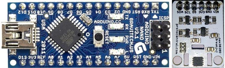 Внешний вид платы Arduino Nano и датчика температуры MAX30205
