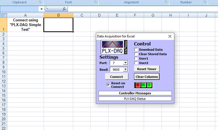Внешний вид листа Excel при работающем плагине PLX-DAQ