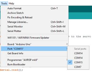 Выбор необходимого COM порта в Arduino IDE