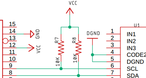 Подключение линий интерфейса I2C SCL и SDA с помощью подтягивающих резисторов