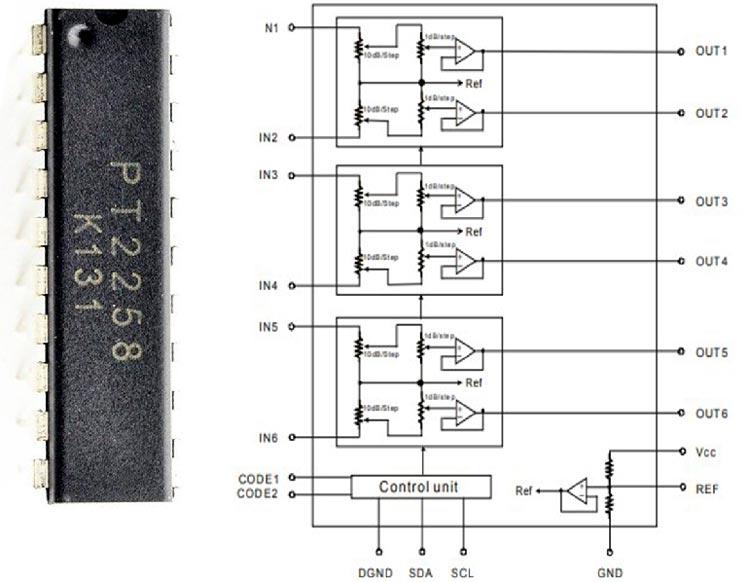 Внешний вид и схема микросхемы PT2258