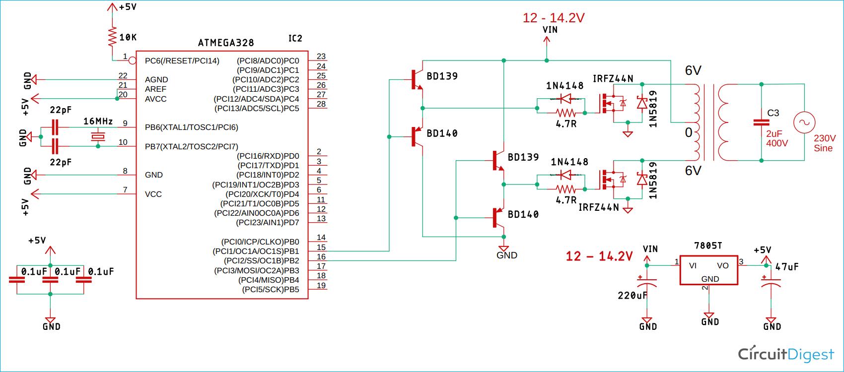 Схема чистого синусоидального инвертора на основе платы Arduino