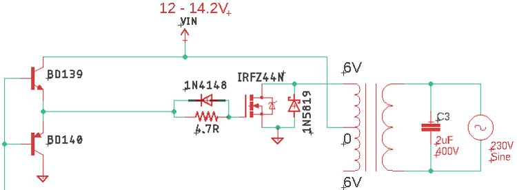 Протекание тока в прямом направлении в инверторе