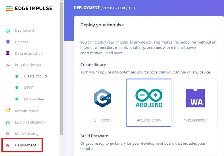 Создание библиотеки Arduino в Edge Impulse