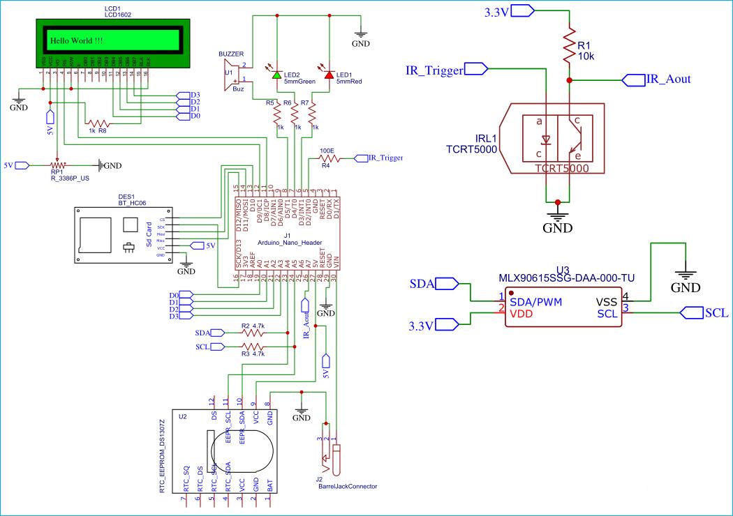 Схема бесконтактного настенного термометр на Arduino с логгером данных на SD карту