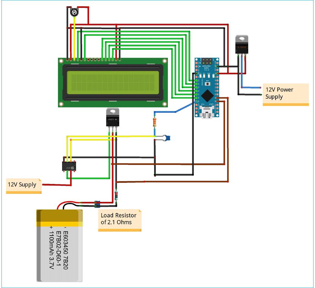 Схема тестера емкости литиевых аккумуляторов 18650 на основе платы Arduino