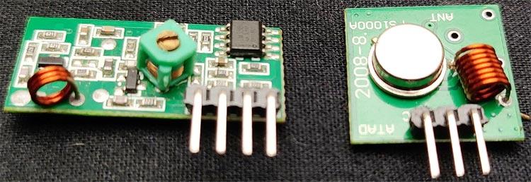 Внешний вид передающего и приемного радио модулей на 433 МГц