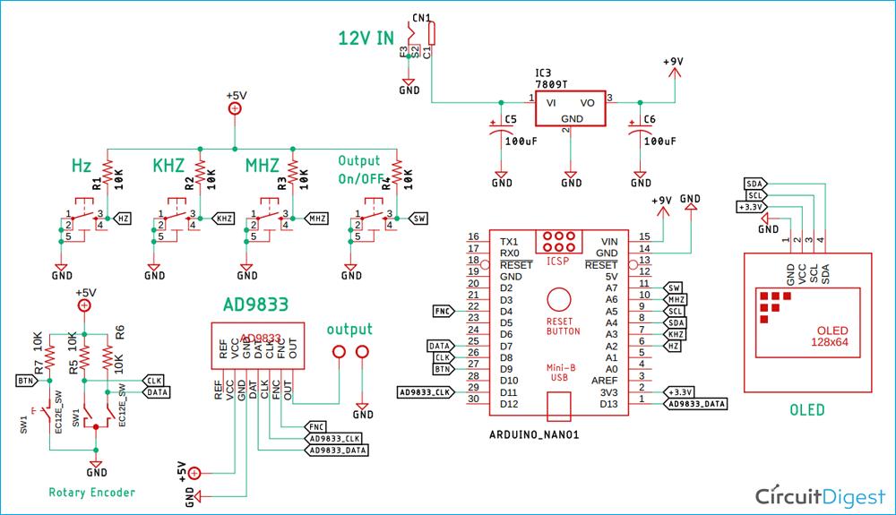 Схема генератора сигналов на основе платы Arduino и DDS модуле AD9833