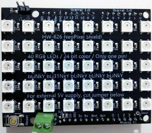Внешний вид шилда Adafruit 5X8 NeoPixel для Arduino