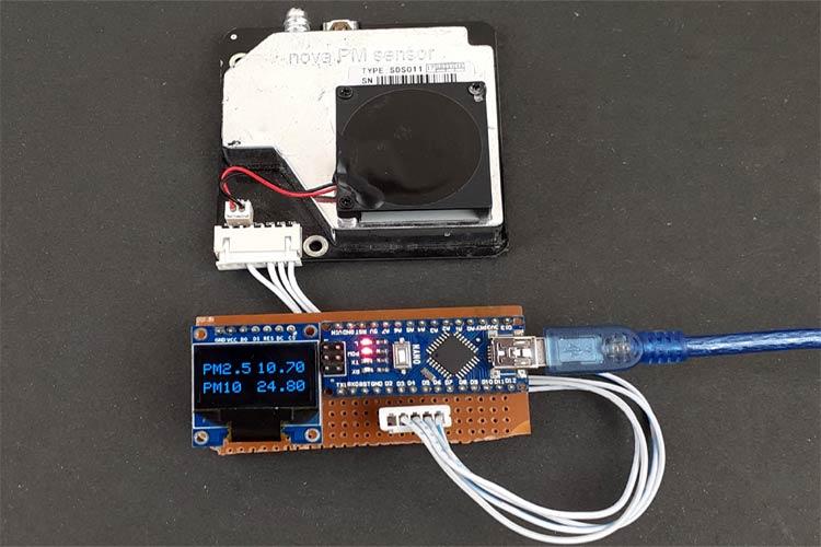 Внешний вид анализатора качества воздуха на Arduino и датчике Nova PM Sensor SDS011