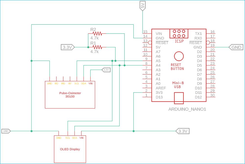 Схема пульсоксиметра на основе платы Arduino и датчике MAX30100