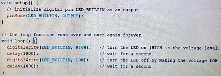 Код скетча Arduino для мигания светодиодом