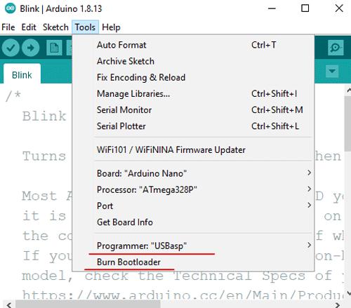 Восстановление исходных значений фьюзов с помощью Arduino IDE