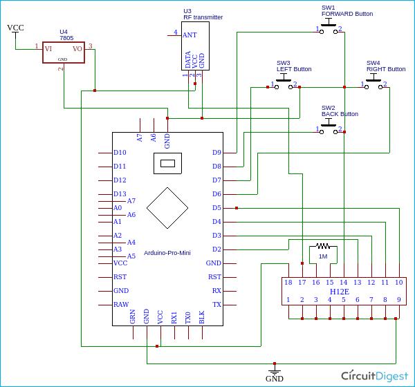 Схема пульта дистанционного управления лодкой на основе платы Arduino