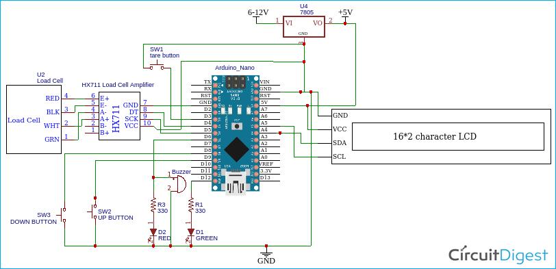 Схема электронных весов на основе платы Arduino и датчике веса