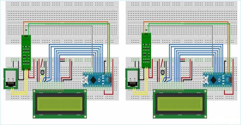 Схемы соединений на макетной плате для передающей и приемной частей проекта