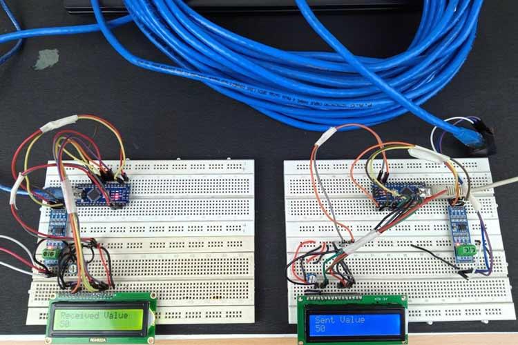 Внешний вид проекта связи на большие расстояния по Ethernet кабелю с помощью Arduino и RS485