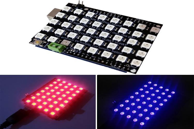 Внешний вид проекта управления цветной светодиодной матрицей WS2812B с помощью Arduino и Android приложения