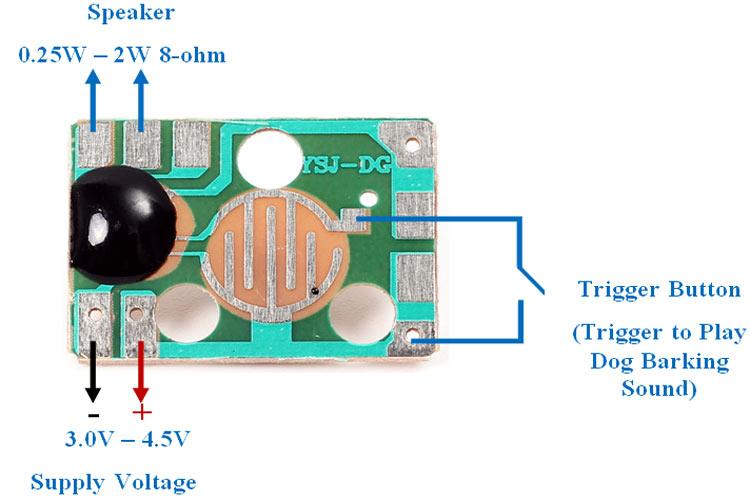 Внешний вид и распиновка звукового модуля с лаем собаки