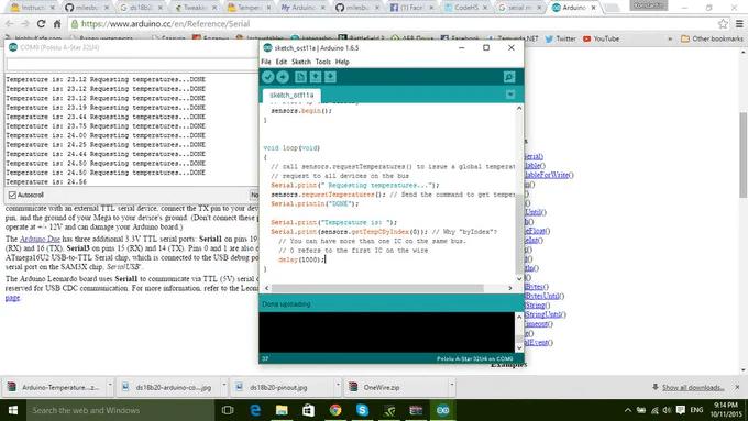 Тестирование работы термометра на Arduino и датчике температуры DS18B20