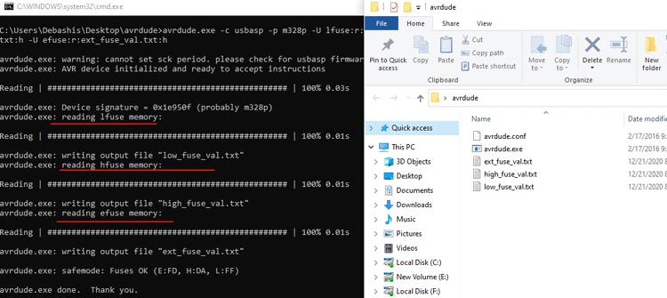Чтение фьюзов в Arduino с помощью программы Avrdude