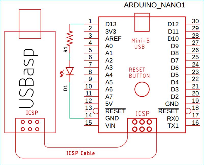 Схема для чтения/изменения фьюзов в микроконтроллере AVR (плате Arduino)
