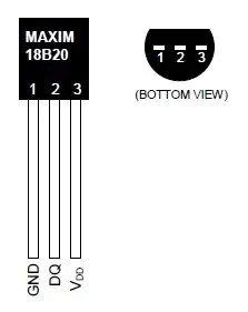 Внешний вид и распиновка датчика DS18B20