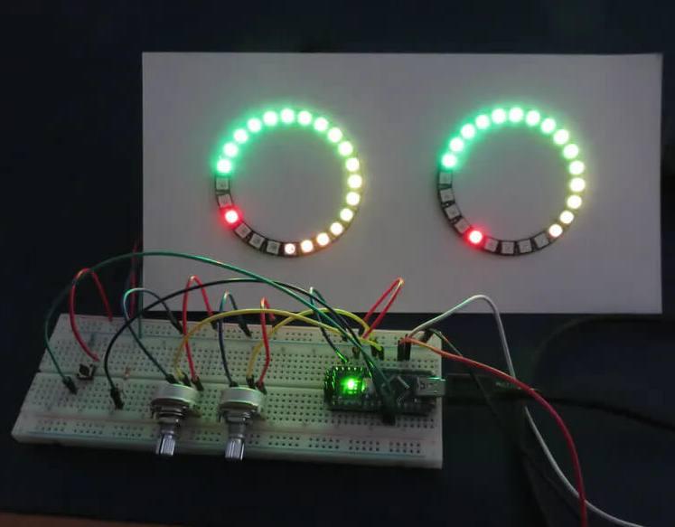 Внешний вид стерео измерителя уровня звука на Arduino и светодиодных кольцах от NeoPixel