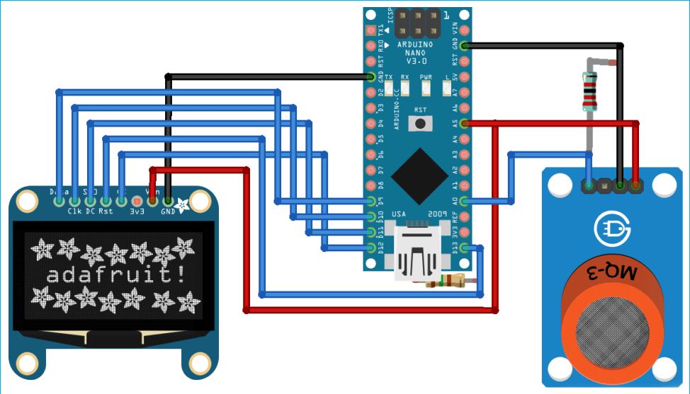 Схема подключения датчика MQ-135 к плате Arduino