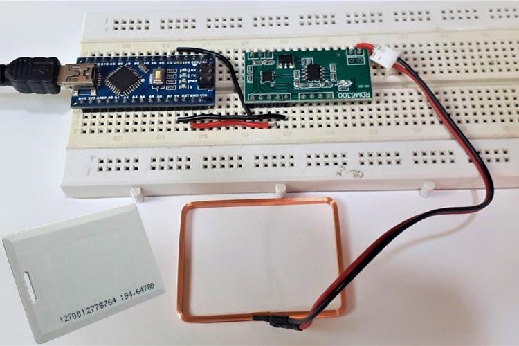 Внешний вид подключения модуля чтения RFID меток RDM6300 к Arduino
