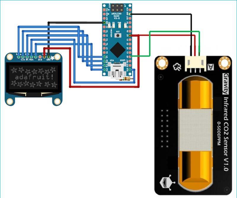 Схема подключения инфракрасного датчика CO2 к плате Arduino