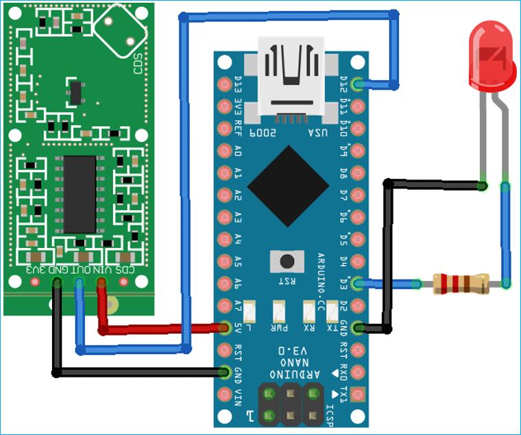 Схема подключения доплеровского датчика движения RCWL-0516 к плате Arduino