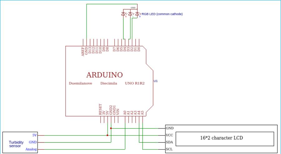 Схема подключения датчика мутности к плате Arduino