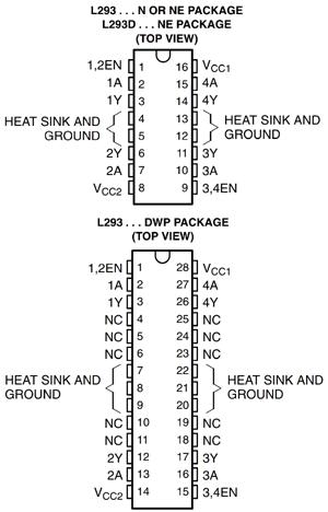 Распиновка микросхемы L293D
