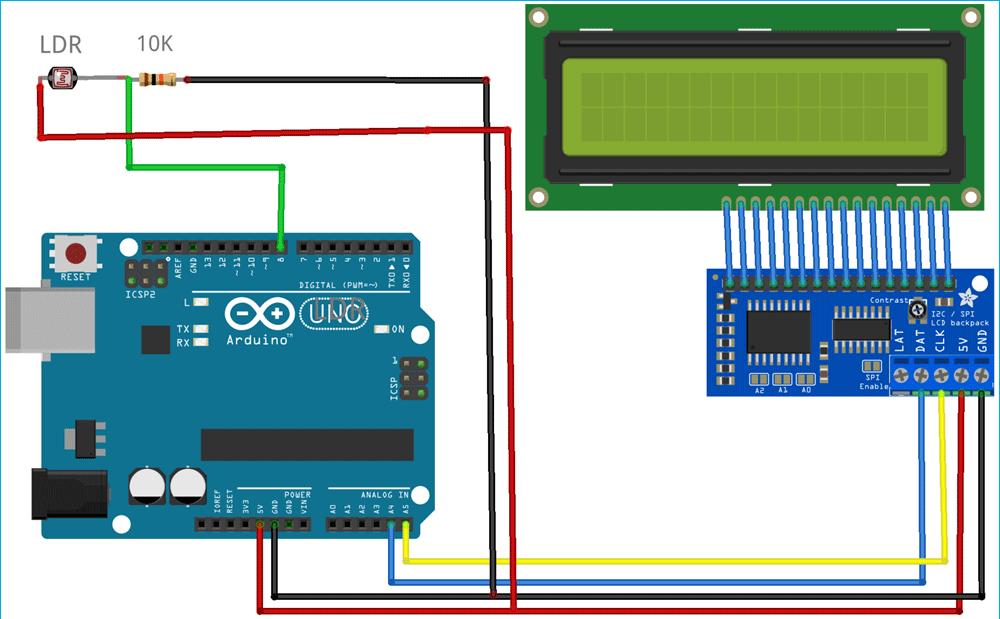 Принципиальная схема приемной части Li-Fi на основе платы Arduino
