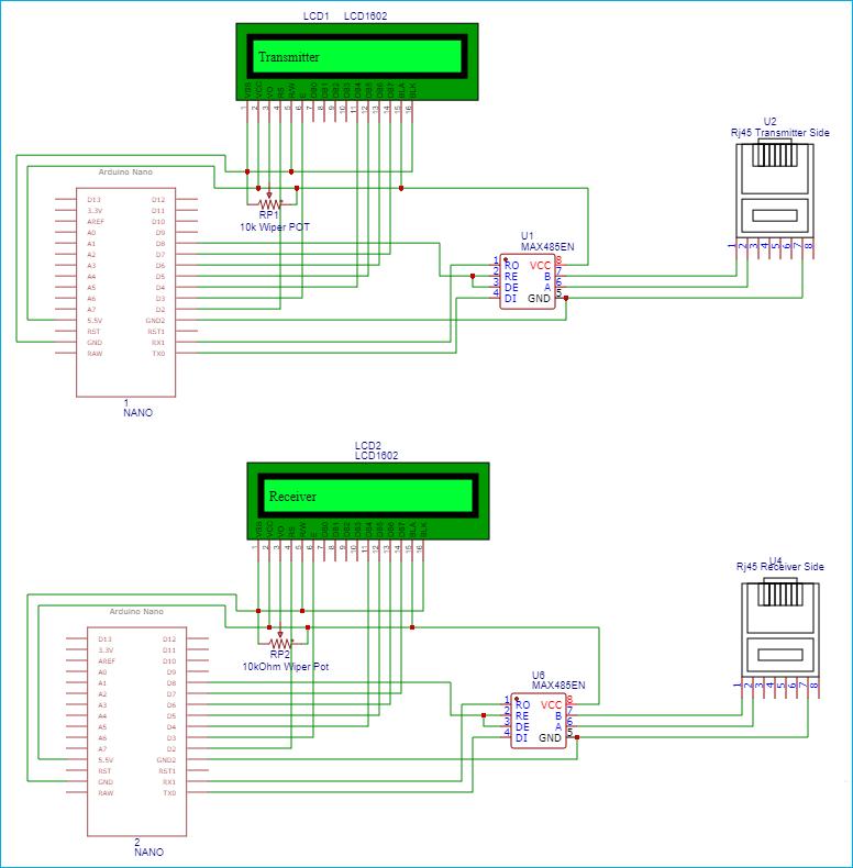 Схема для осуществления связи на большие расстояния по Ethernet кабелю с помощью Arduino и RS485
