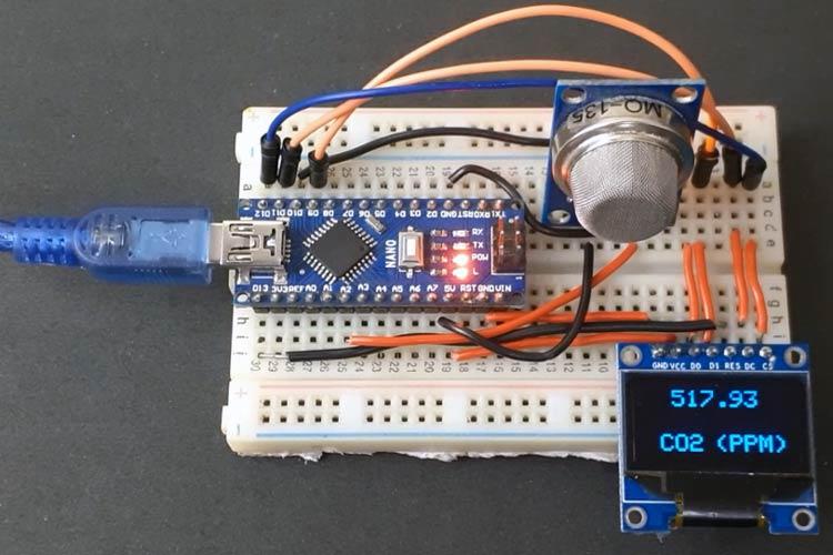 Внешний вид подключения датчика MQ-135 к плате Arduino