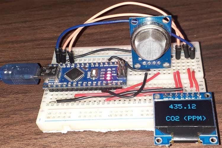 Отображение значения концентарции CO2 в единицах PPM на экране OLED дисплея