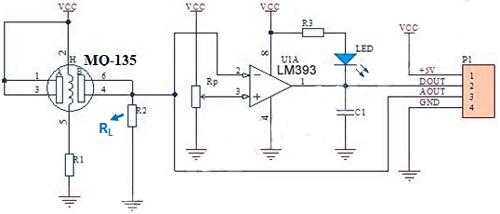 Схема модуля датчика MQ-135