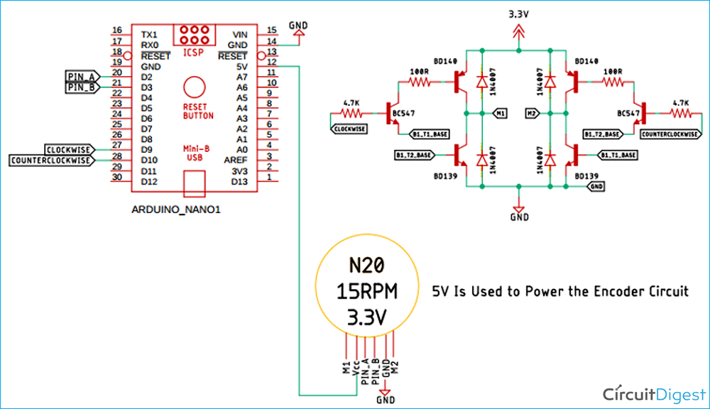 Схема энкодера для двигателя на Arduino и PID контроллере