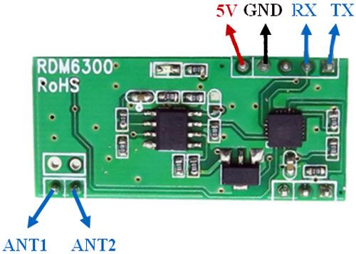 Внешний вид модуля RDM6300 (EM4100) и его распиновка