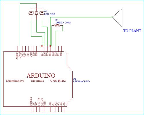 Схема изменяющего цвет при прикосновении растения с использованием платы Arduino