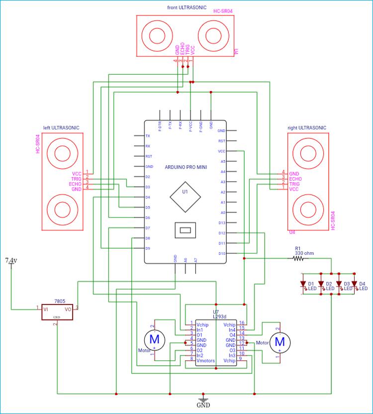 Схема робота на Arduino для автоматической дезинфекции помещений с помощью ультрафиолетовых лучей