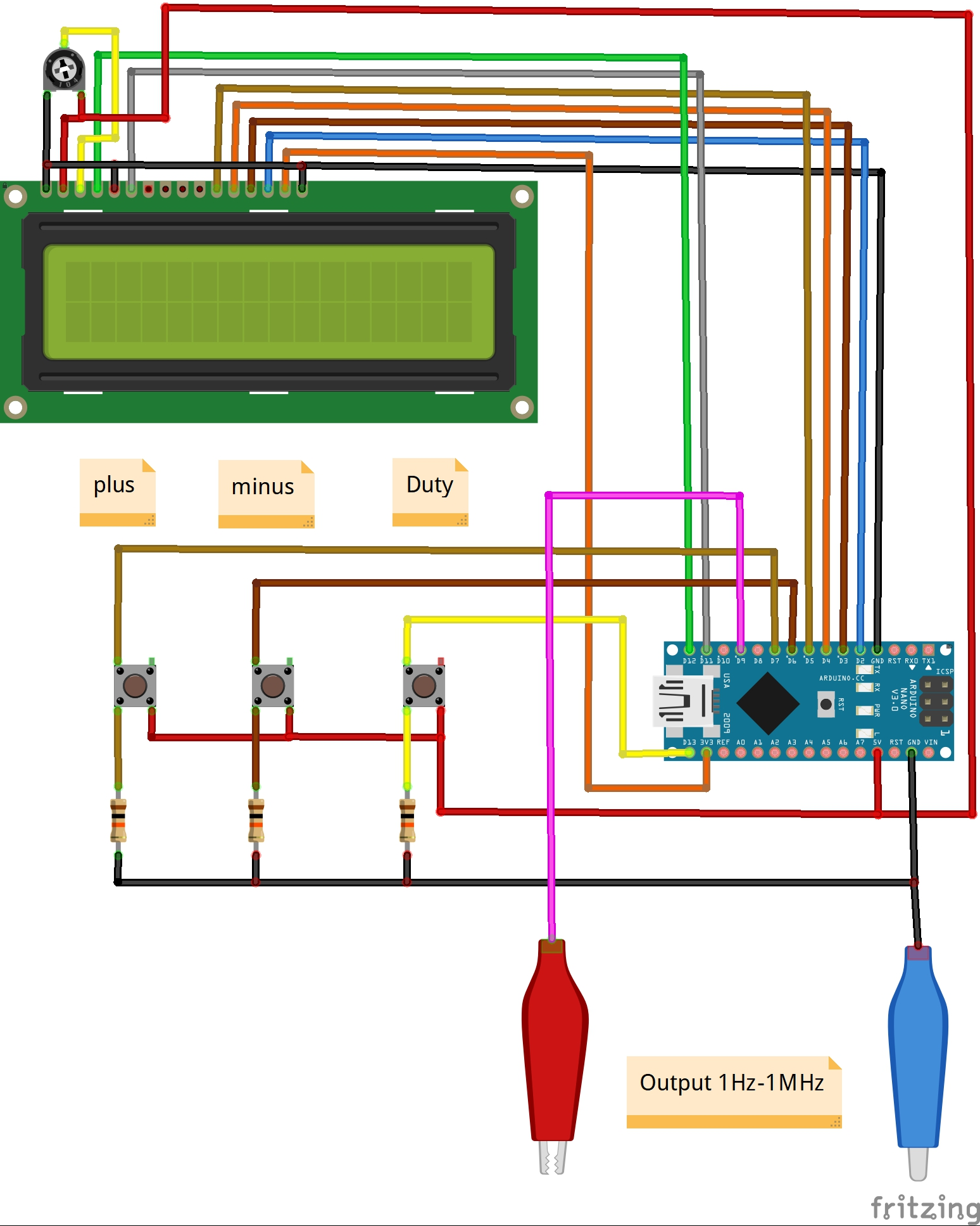 Схема простого генератора прямоугольных импульсов на основе платы Arduino