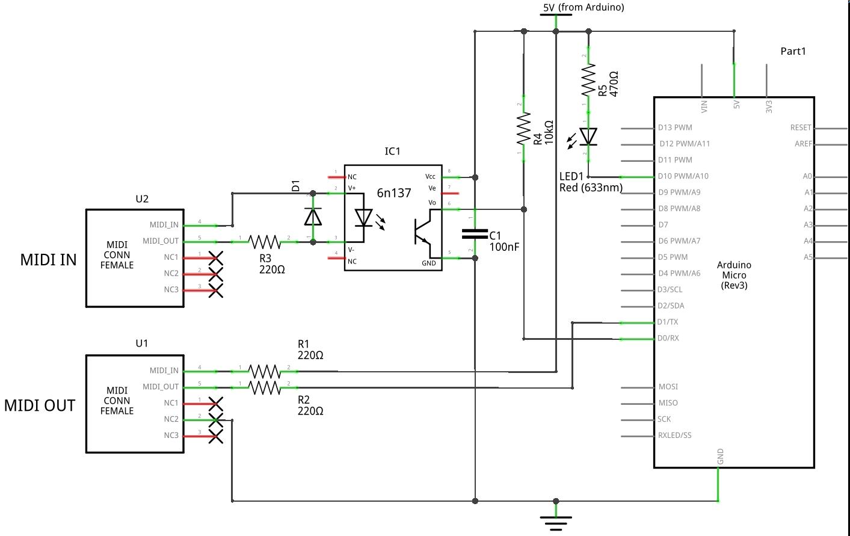 Схема адаптера USB в MIDI на основе платы Arduino Micro