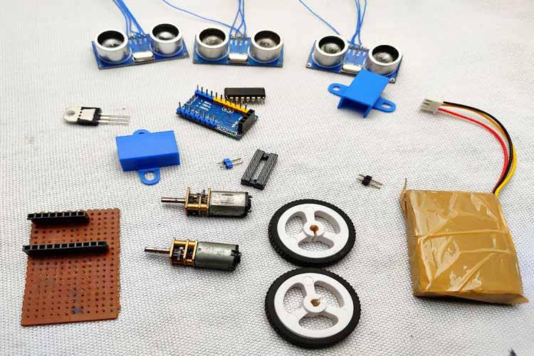Внешний вид компонентов, необходимых для сборки робота